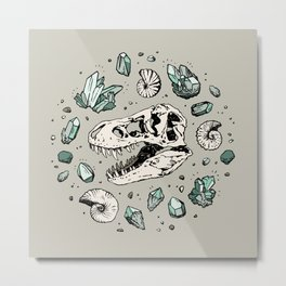 Geo-rex Vortex | Aquamarine | Dinosaur Skull Fossil Art Metal Print