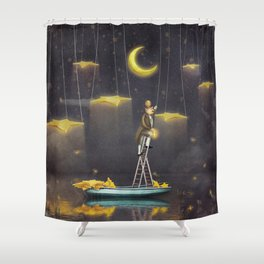 Man reaching for stars  at top of tall ladder Shower Curtain