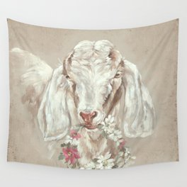 Goat with Floral Wreath by Debi Coules Wall Tapestry