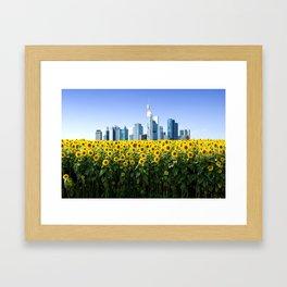 Frankfurt Germany Skyline Sunflower Field Framed Art Print