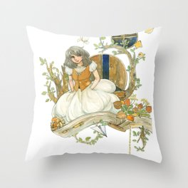 Colourful Seasons in the Forest Beautiful Childhood Fairytale Throw Pillow