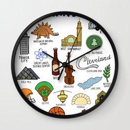Cleveland Ohio Icons Wall Clock