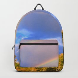 Double rainbow in autumn Backpack