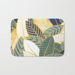 Leaf wall // navy blue pine and sage green leaves golden lines Bath Mat