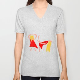 Dancing woman in a red dress and with blond yellow hair Unisex V-Neck