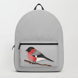Cute Eurasian Bullfinch Cartoon Bird Illustration On Gray Backpack