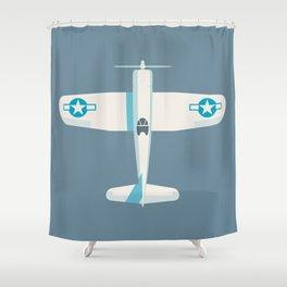 F4U Corsair Fighter Aircraft - Slate Shower Curtain