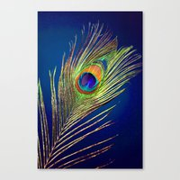 peacock feather Canvas Prints featuring peacock feather by mark ashkenazi