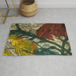 Vintage Made Modern: Transylvania Roumania Map Collaged with Flowers Rug