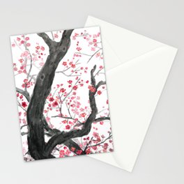 red plum flower forest Stationery Cards