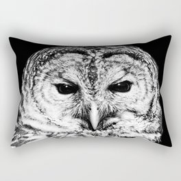 Black and White Barred Owl Face Close Up Rectangular Pillow