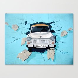 Taxi Breaking The Wall Canvas Print
