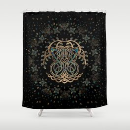 Butterfly and Tree of life Yggdrasil Shower Curtain