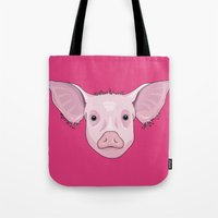 pig Tote Bags featuring Pig by Compassion Collective