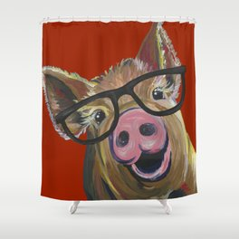 Pig With Glasses, Cute Pig, Farm Animal Shower Curtain