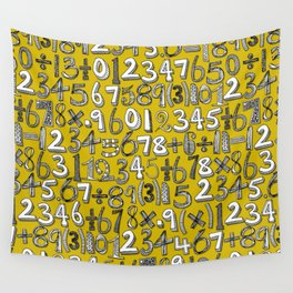 math doodle yellow Wall Tapestry