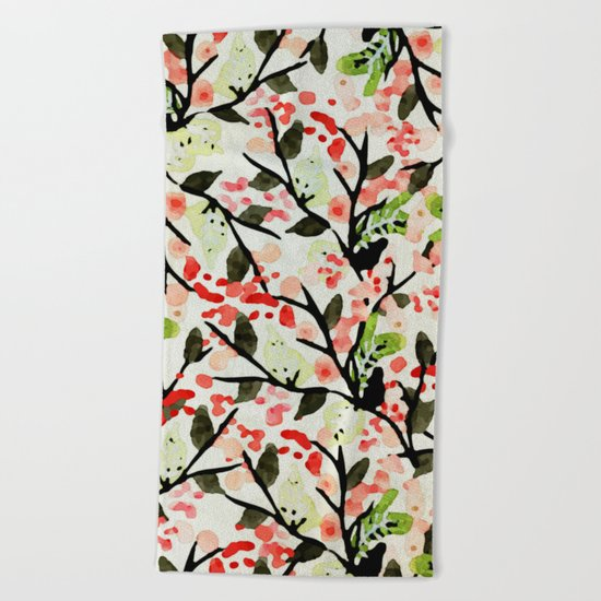 Watercolor Nature Pattern #society6 #decor #buyart Beach Towel