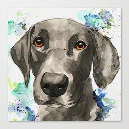 Black Labrador Watercolor Canvas Print