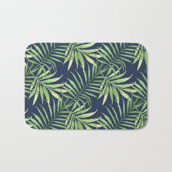 Tropical Branches on Dark Pattern 05 Bath Mat