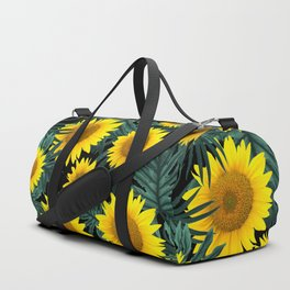 Tropical Sunflower Jungle Night Leaves Pattern #1 #tropical #decor #art #society6 Duffle Bag