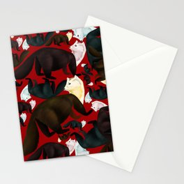 Marten tropical pattern Red Stationery Cards