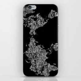 Passport Stamp Map Special Edition, Black and White iPhone Skin