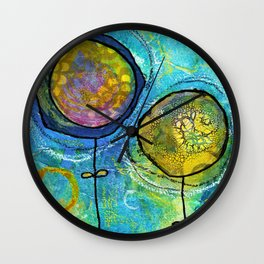 1 blue, 1 green flower no.03 Wall Clock