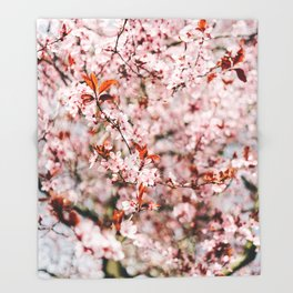 Pink Floral Tree (Color) Throw Blanket