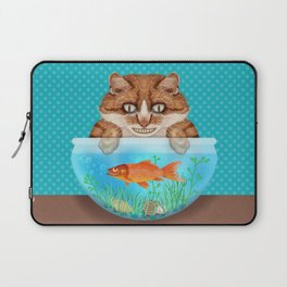 Cat with Goldfish Bowl Whimsical Kitty and Fish Laptop Sleeve