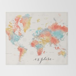 """""""Explore"""" - Colorful watercolor world map with cities Decke"""