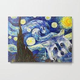 Animals World Starry Night Raccoon Metal Print