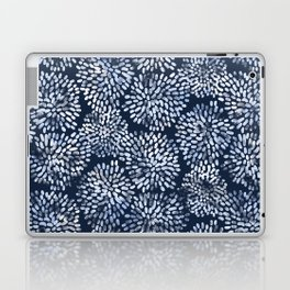 Abstract Navy Watercolor Line Flowers Laptop & iPad Skin