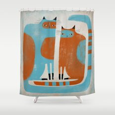 TWO CATS WAITNG Shower Curtain