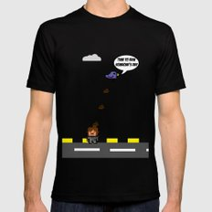 pixel bird pooping MEDIUM Black Mens Fitted Tee