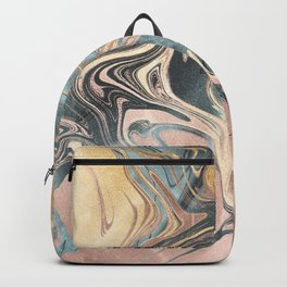 Liquid Gold and Rose Gold Marble Backpack