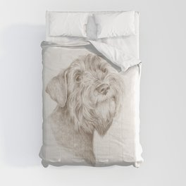 Schnauzer Pencil drawing Comforters