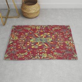 Oriental Floral Print Rug