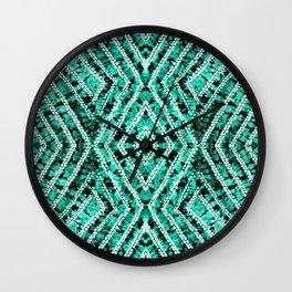 Aquamarine African Tie Dye Resist Fabric Adire Boho Chic Wall Clock