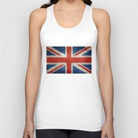 british flag Tank Tops featuring UK British Union Jack flag retro style by Bruce Stanfield