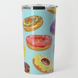 Donuts Pattern Kitchen Home Decor Sky Blue Art Print Donuts Poster Decoration Cartoon Graphic Design Travel Mug