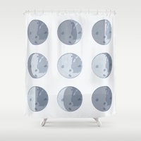 moon phases Shower Curtains featuring Moon Phases by Katie Boland