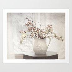 Berries in White Vase Art Print