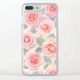 Opal Pink and Peach Painted Roses Clear iPhone Case
