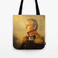 black and gold Tote Bags featuring Bill Murray - replaceface by replaceface