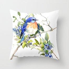 Bluebird and Blueberry Throw Pillow