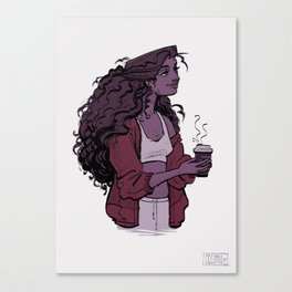 Coffee and Curls Canvas Print