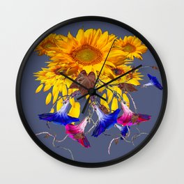 Grey Assorted Flowers Abstract Wall Clock