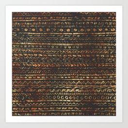 Modern Dark Brown Copper Tribal Ethnic Pattern Art Print