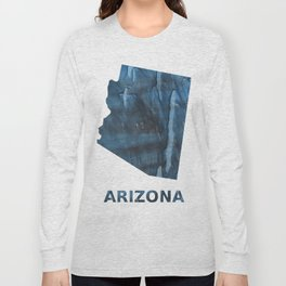 Arizona map outline Dark Gray Blue clouded watercolor pattern Long Sleeve T-shirt