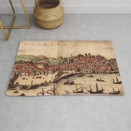 Vintage Pictorial Map of Lisbon Portugal (1572) Rug